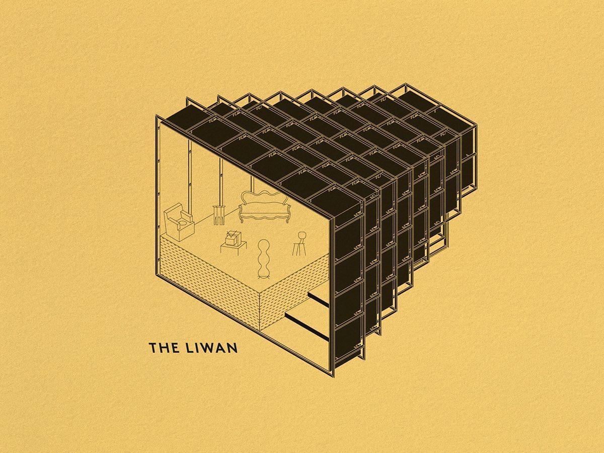 illustration symbolique de the liwan, un salon libanais installé dans une des structures telescopiques camera chiara annabel Karim Kassar