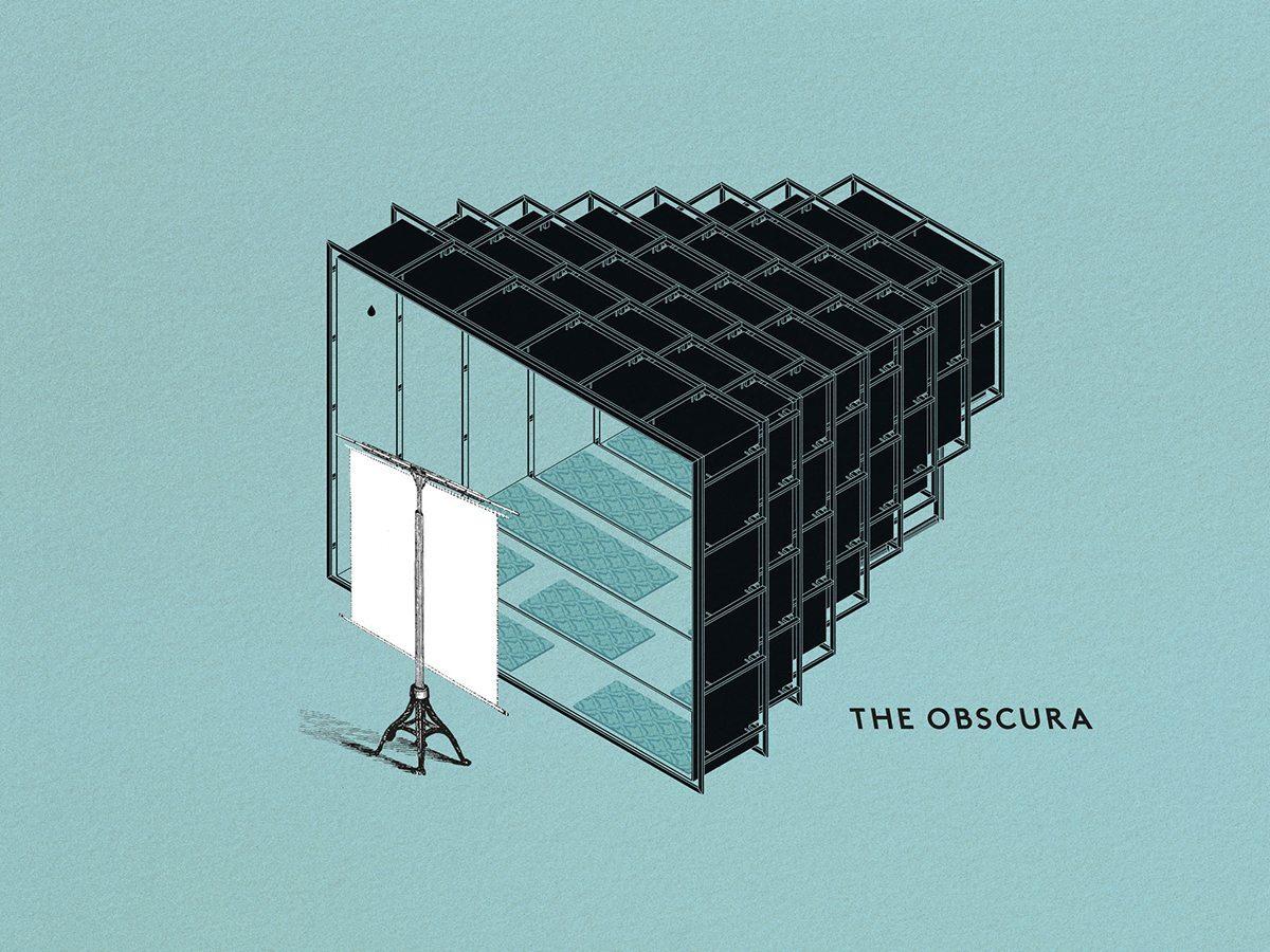 illustration symbolique de the obscura, un cinema installé dans une des structures telescopiques camera chiara annabel Karim Kassar