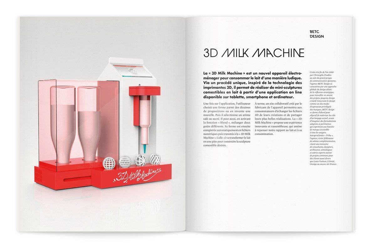 """milklab-catalogue-3d-milk-machine_IchetKaraCatalogue de l'exposition Milk Lab """"Les designers réinventent le lait"""", la « 3D Milk Machine » de BETC Design est un nouvel appareil électroménager pour consommer le lait d'une manière ludique. Inspiré de la technologie des imprimantes 3D, il permet de réaliser de mini-sculptures comestibles en lait."""