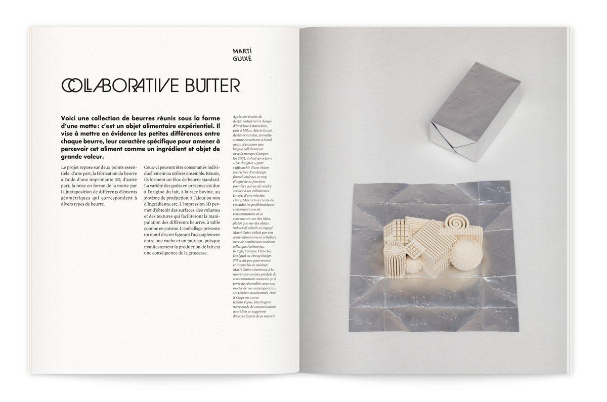 """Catalogue de l'exposition Milk Lab """"Les designers réinventent le lait"""". Une collection de beurres sous la forme d'une motte, un objet alimentaire expérientiel par Marti Guixe"""
