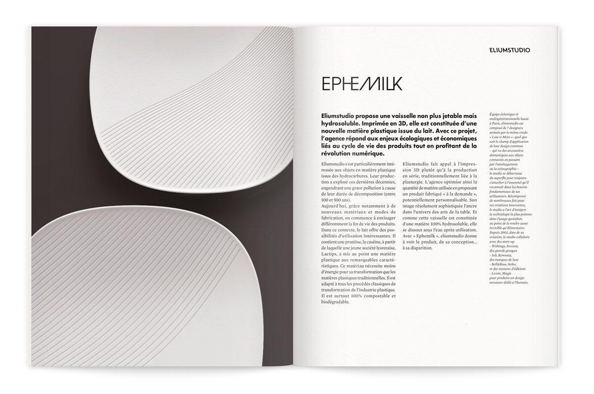 """Catalogue de l'exposition Milk Lab """"Les designers réinventent le lait"""". Proposition de Eliumstudio, une vaisselle non plus jetable mais hydrosoluble imprimée en 3D constituée d'une nouvelle matière plastique issue du lait ."""