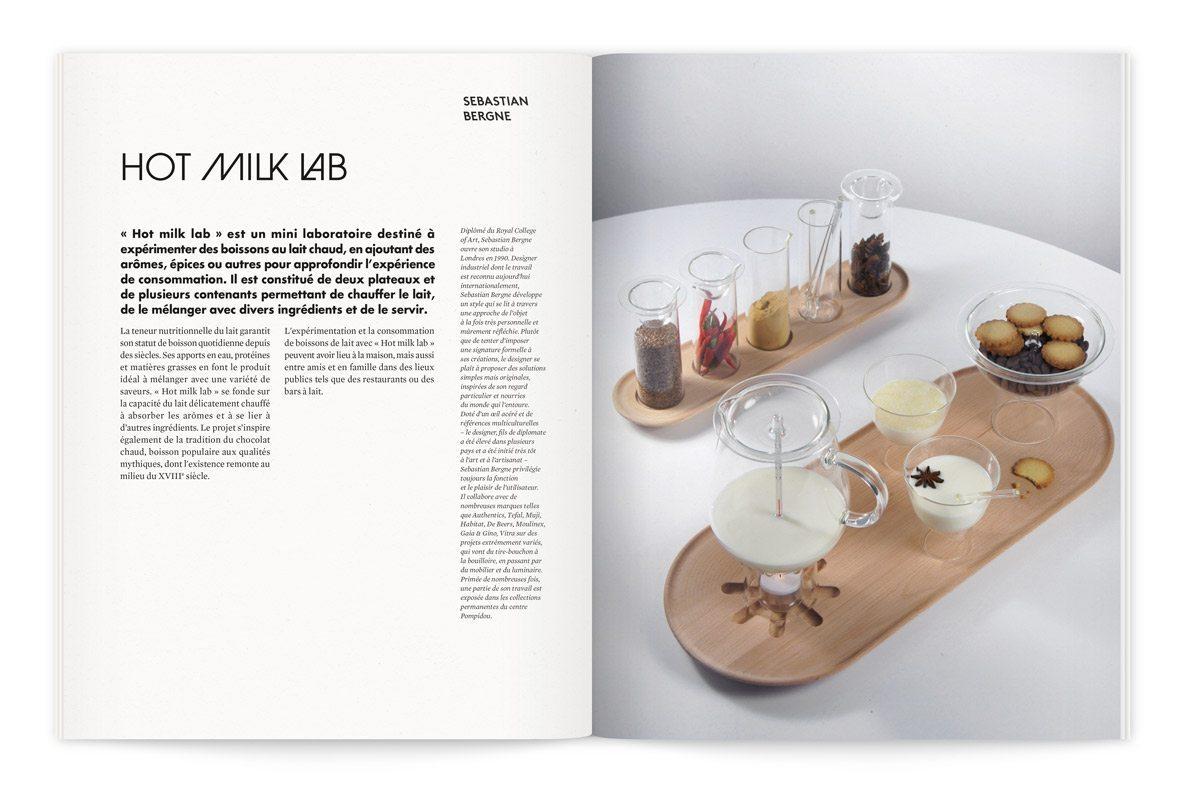 """Catalogue de l'exposition Milk Lab """"Les designers réinventent le lait"""". Hot milk lab est un mini laboratoire destiné à expérimenter des boissons au lait chaud, en ajoutant des arômes et épices. Une interprétation de Sebastian Bergne."""