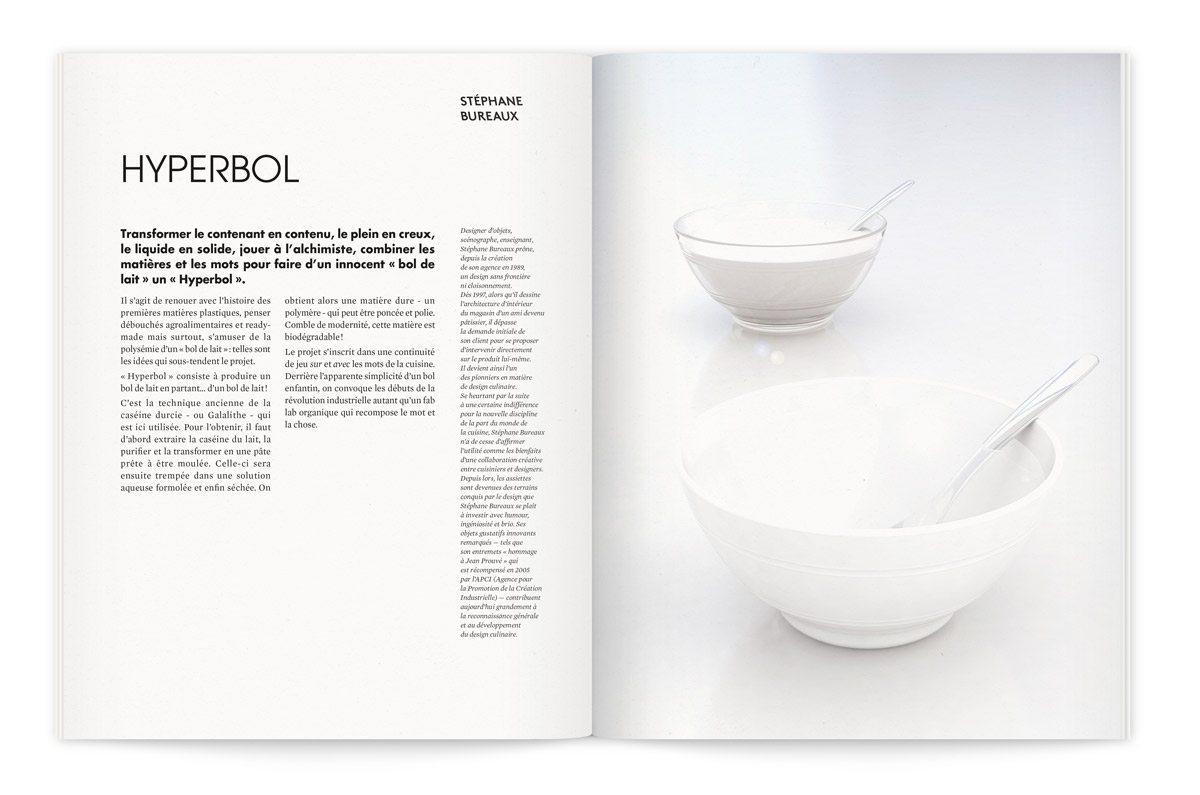 """Catalogue de l'exposition Milk Lab """"Les designers réinventent le design"""". Proposition de Stéphane Bureaux, transformer le contenant en contenu, le liquide en solide, jouer à l'alchimiste pour faire d'un innocent « bol de lait » un « Hyperbol »."""