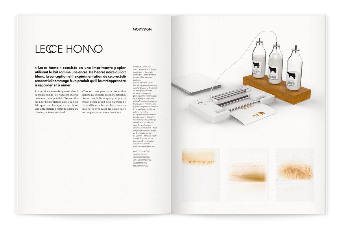 """Catalogue de l'exposition Milk Lab """"Les designers réinventent le lait"""". Proposition de Nodesign, « Lecce homo », consiste en une imprimante papier utilisant le lait comme une encre. De l'encre noire au lait blanc."""