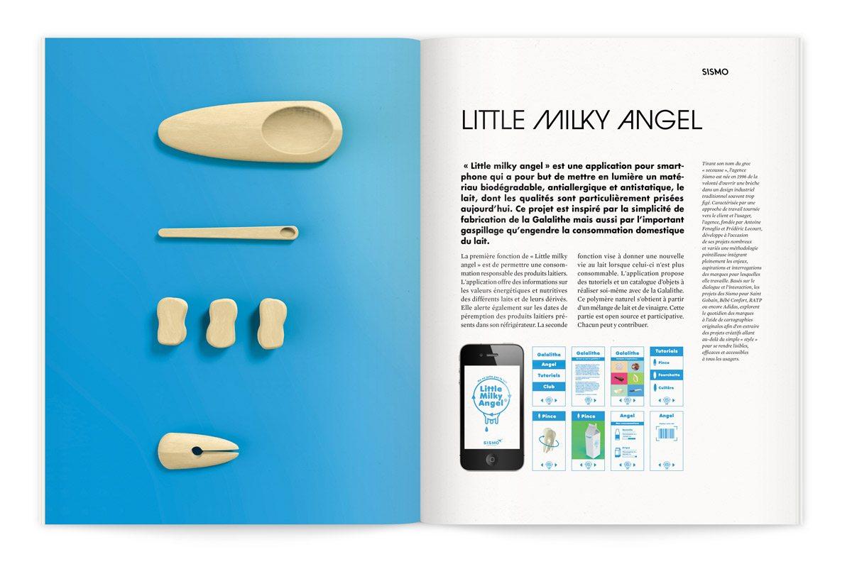 """Catalogue de l'exposition Milk Lab """"Les designers réinventent le lait"""". « Little milky angel » de SISMO est une application pour smartphone qui a pour but de mettre en lumière un matériau biodégradable, antiallergique et antistatique, le lait."""