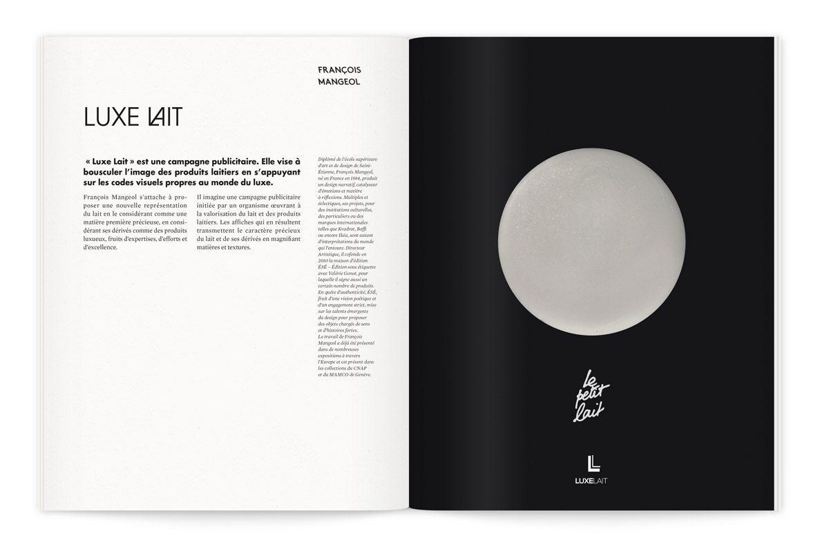 """Catalogue de l'exposition Milk Lab """"Les designers réinventent le lait. « Luxe Lait » est une campagne publicitaire visant à bousculer l'image des produits laitiers en s'appuyant sur les codes visuels du luxe, par François Mangeol"""