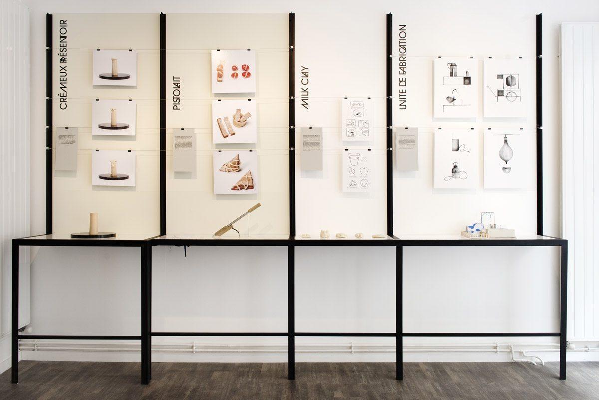 """Exposition Milk Lab """"Les designers réinventent le lait"""" à la Milk Factory. Les projets des étudiants de l'ENSAD Nancy et de l'ESAD Reims."""