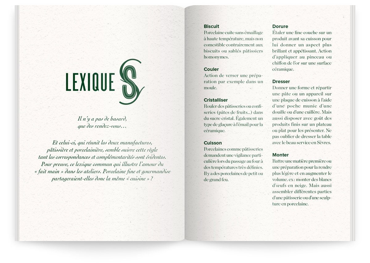 Menu du Sèvres Café par Sébastien Gaudard, lexique commun de la pâtisserie et de la porcelaine qu'on y trouve.