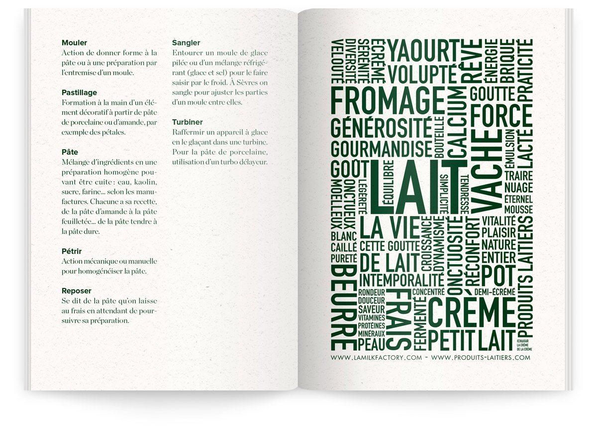 Menu du Sèvres Café par Sébastien Gaudard, lexique de mots et composition typographique, design Ich&Kar