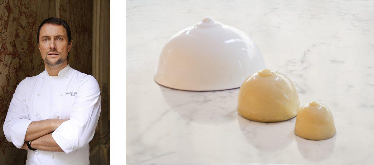 Portrait de Sebastien Gaudard et bol sein de Marie-Antoinette de la Manufacture de Sèvres et petits gâteaux de la même forme crées par le pâtissier… photo de Antonin AM