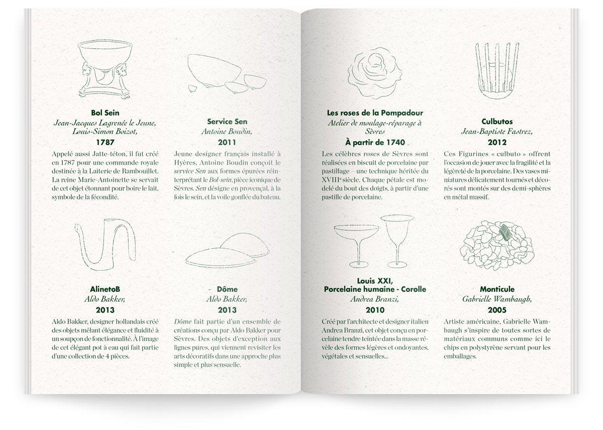 Menu du Sèvres Café par Sébastien Gaudard, dessins et explications sur les bols et coupes réalisés par la Manufacture de Sèvres présentés sur place