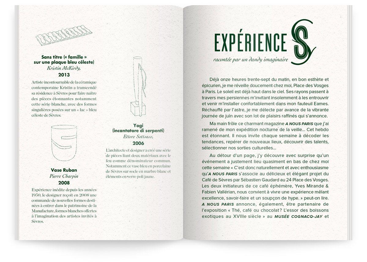 Menu du Sèvres Café par Sébastien Gaudard, texte sur l'expérience de ce café, raconté par un dandy imaginaire