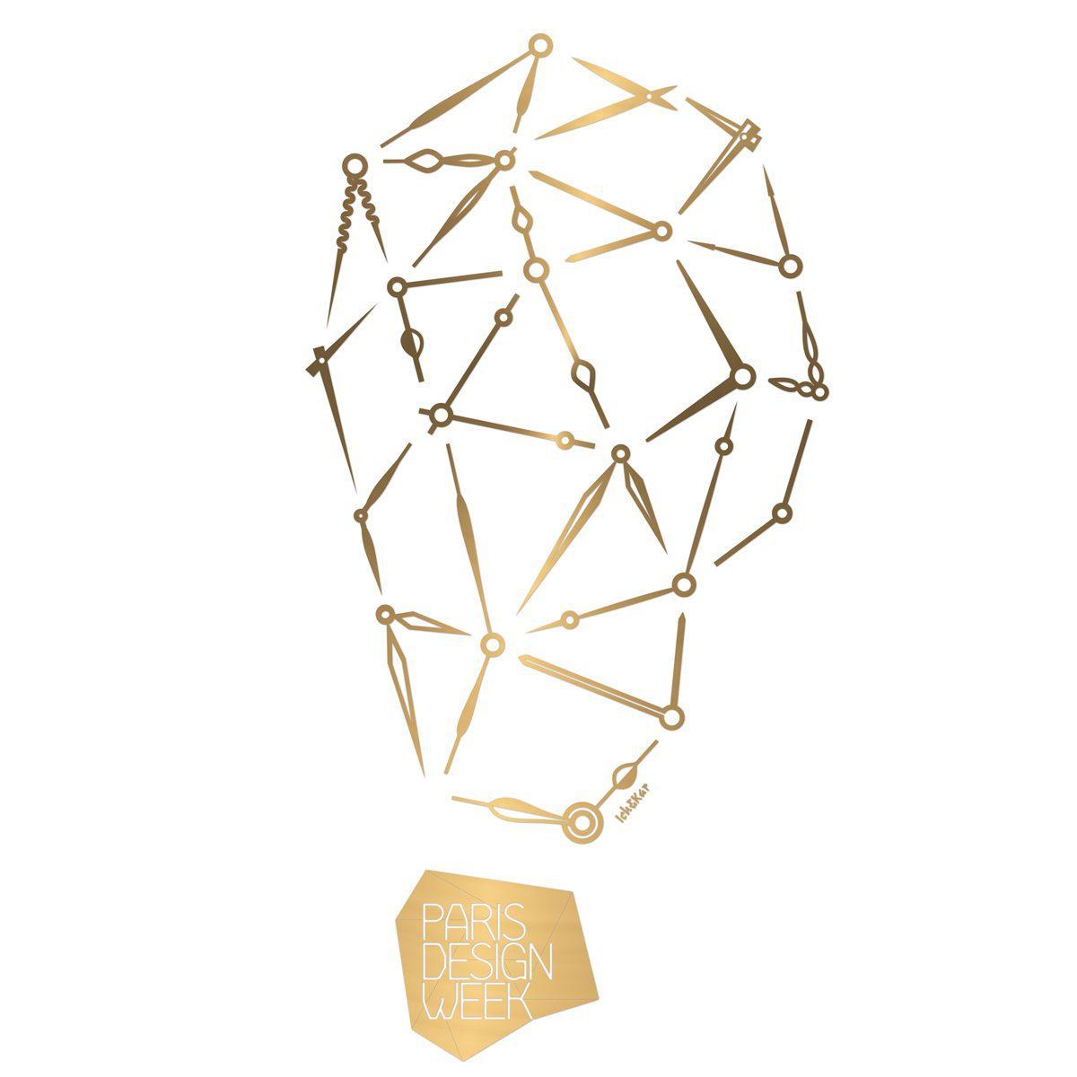 Dessin Precious Time de Ich&Kar pour la Paris Design Week 2015 - Motifs d'aiguilles dorées de montre. Image d'aiguilles qui remontent le temps que nous n'avons plus