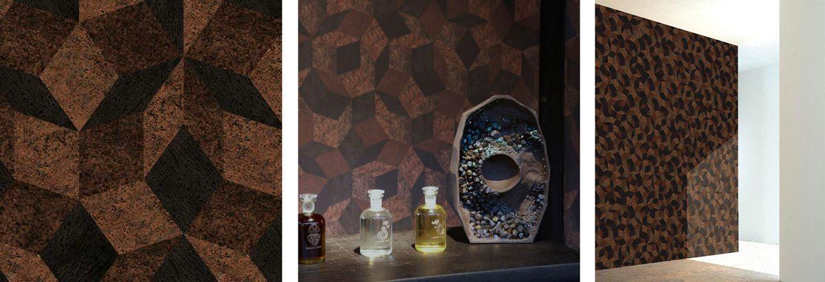 Penrose wallpaper, papier peint Penrose Like Cork, motif enivrant et géométrique de liège, pour le lancement des parfums de Barnabé Fillion