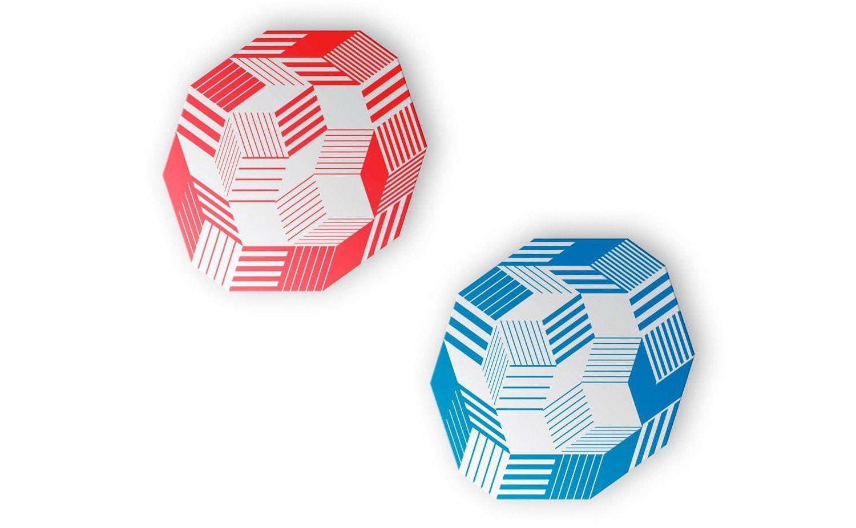 Miroir Penrose Stripes Blue et Stripes Red, motif géométrique et graphique, édition Bazartherapy