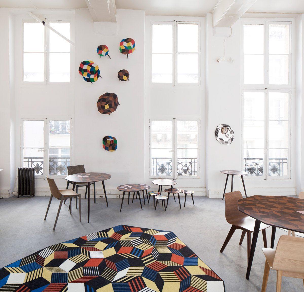 Exposition Penrose Project, Ich&Kar - Bazartherapy, Paris Design Week 2015, tapis, tables basses et guéridon au motifs géométrique