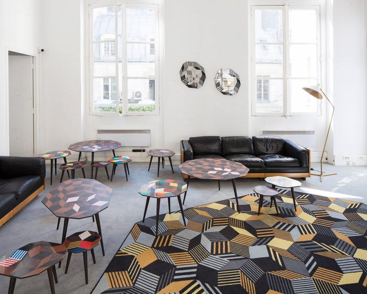 Exposition Penrose Project, Ich&Kar - Bazartherapy, Paris Design Week 2015, tapis, tables basses et miroirs au motifs géométriques
