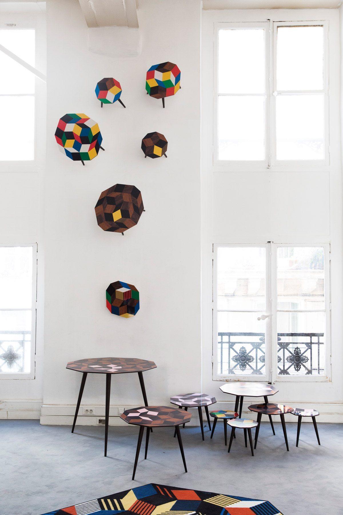 Exposition Penrose Project, Ich&Kar - Bazartherapy, Paris Design Week 2015, tables basses et guéridon au motifs géométrique