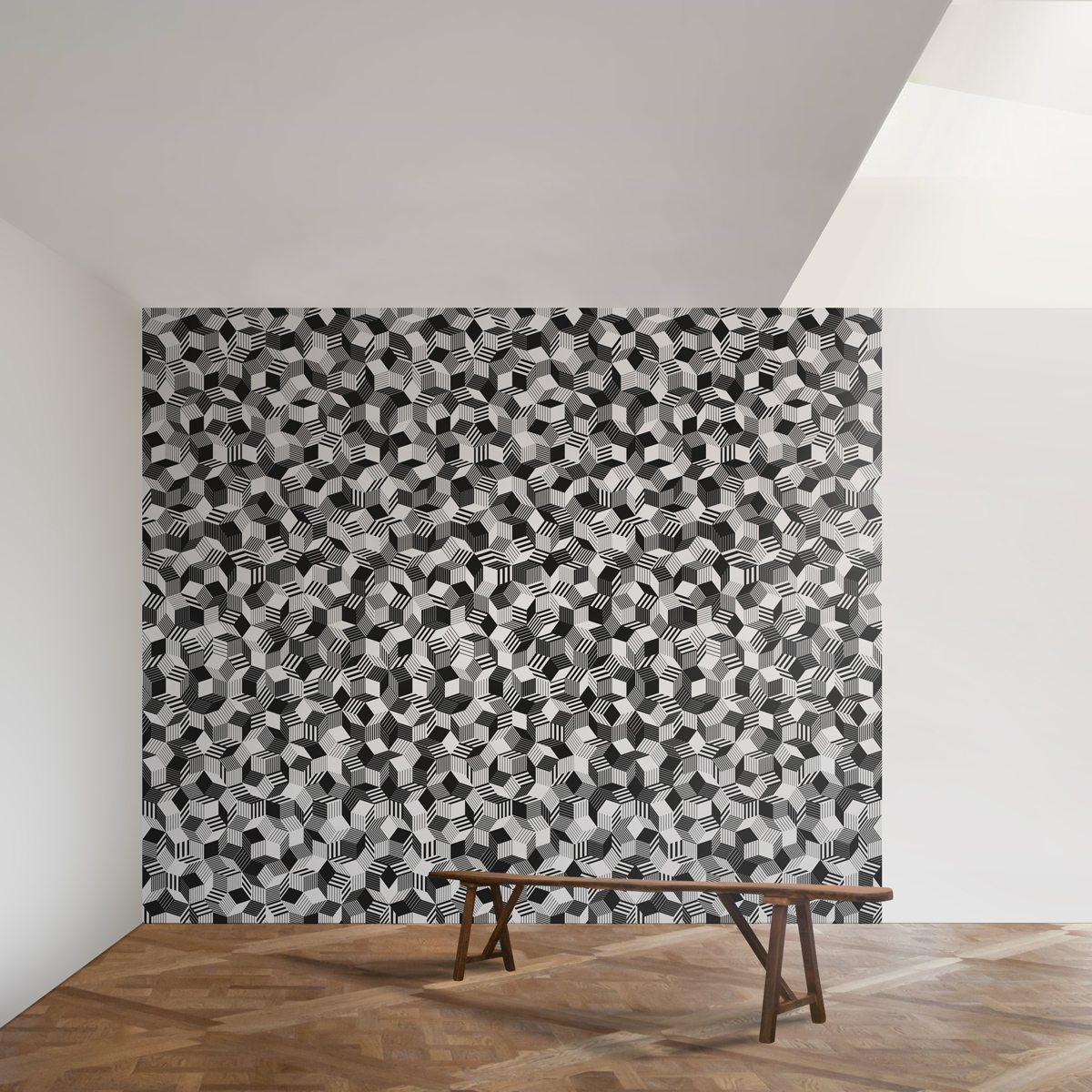 Lés de papier peint Penrose Black Stripe dans loft, lumière zénithale, réveiller une pièce avec un mur ultra graphique au motifs géométriques