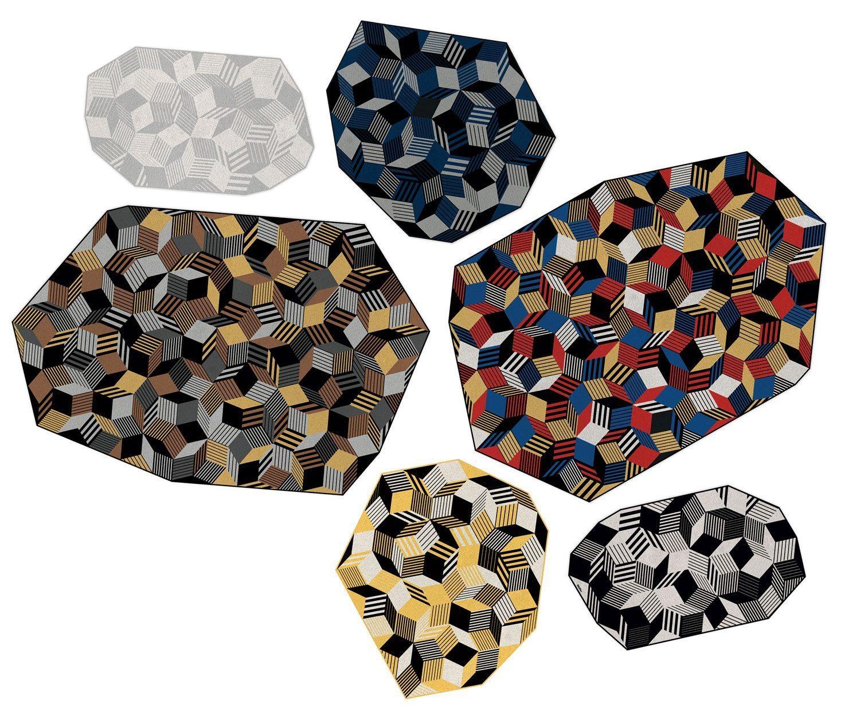 Collection de tapis Penrose, motif géométrique, tendance et design aux contours irréguliers, édition Bazartherapy