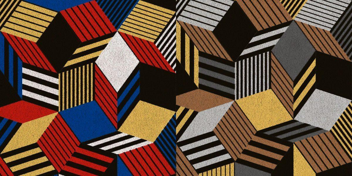 Zoom sur tapis Penrose Crazy et Rocks, motif géométrique et couleurs primaires et taupe jaune brun, tapis manifeste d'Ich&Kar, édition Bazartherapy