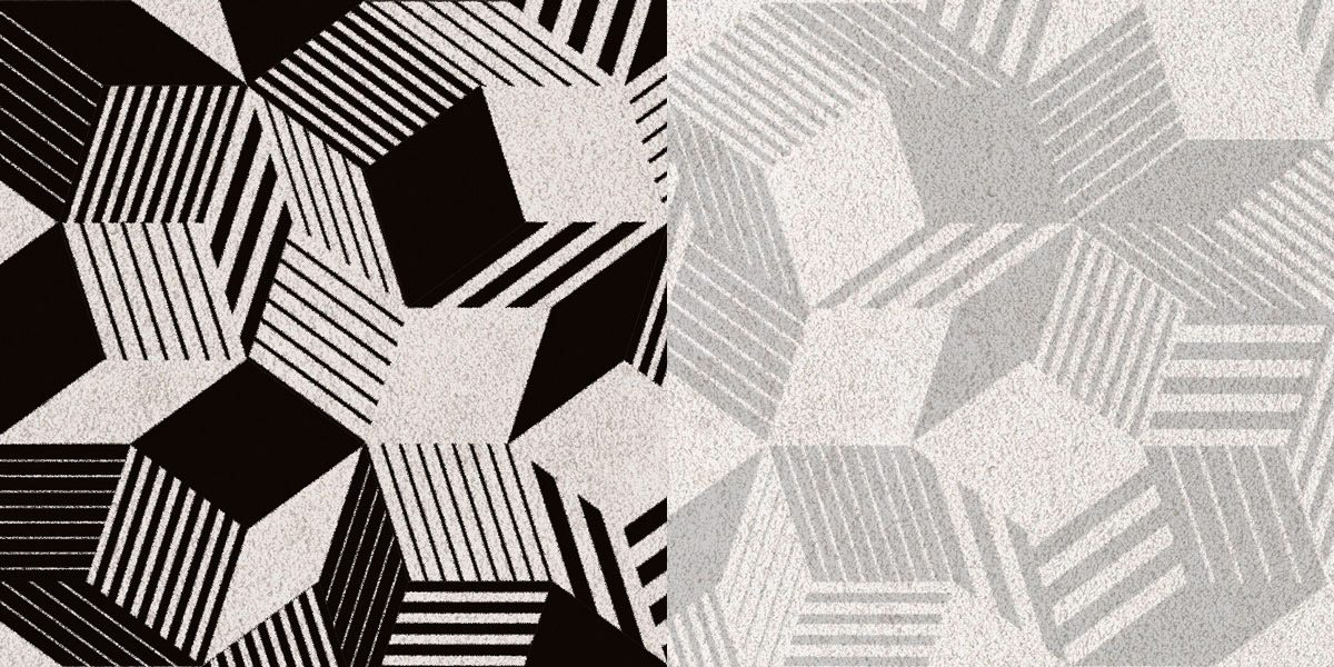 Zoom sur tapis Penrose Black Stripes et Grey by ich&kar, design ultra graphique, résolument contemporain, édition Bazartherapy