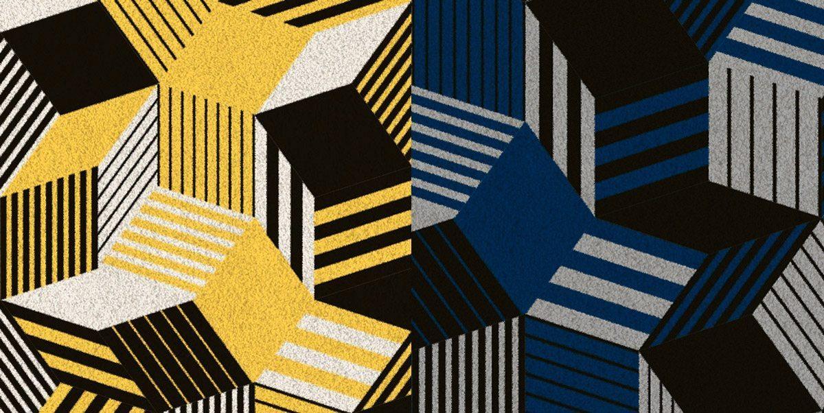 Zoom sur tapis Penrose Sun, jaune, blanc, noir, des couleurs vives et pétantes qui réveillent l'intérieur et Sea, ultra élégant, masculin, motif géométrique aux couleurs bleu marine, gris et noir, édition Bazartherapy