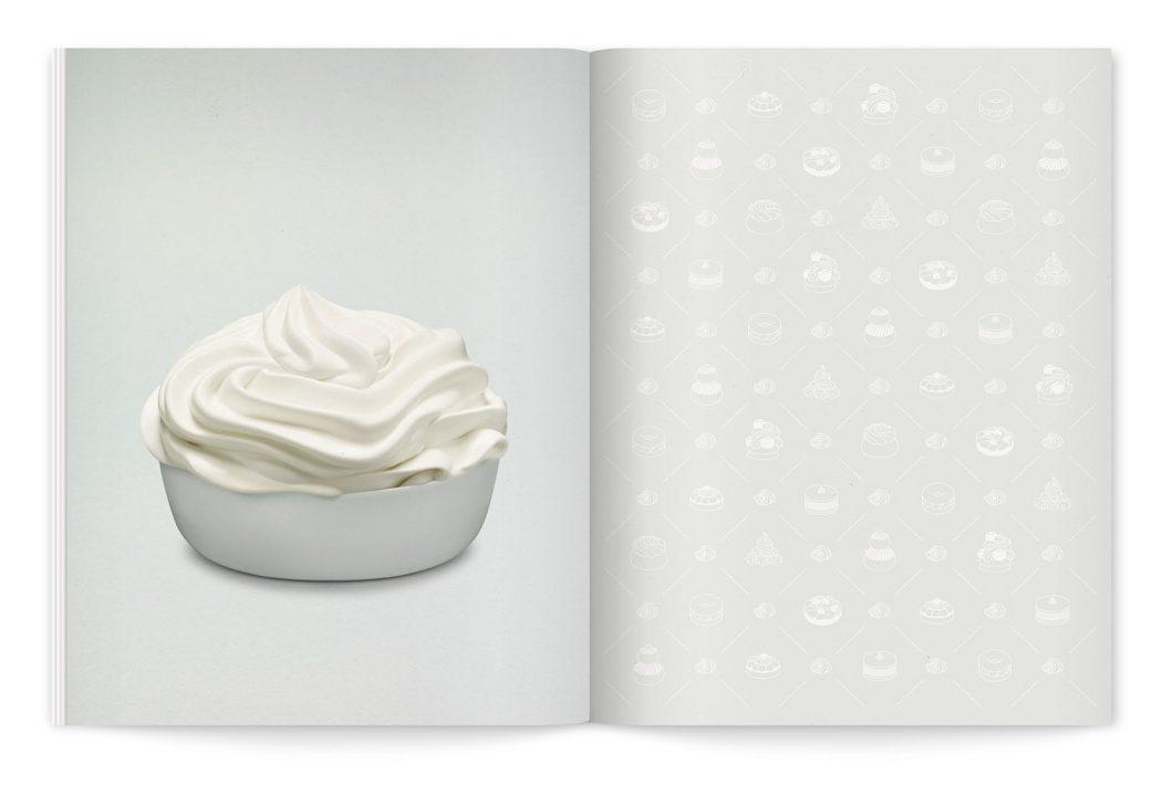 Crème fouettée et motif graphique de pâtisseries dessinés par Ich&kar pour le catalogue de la crème de crème
