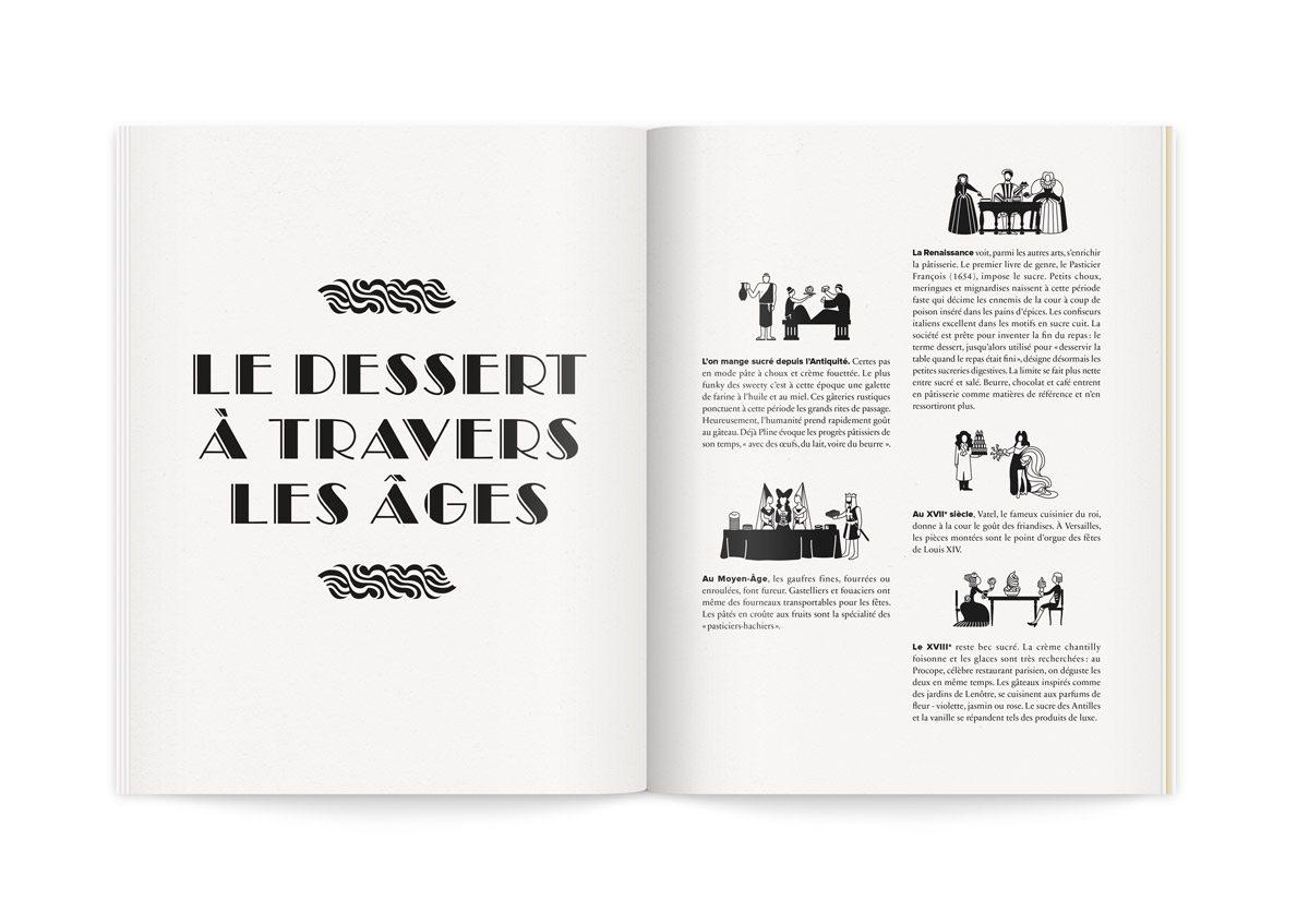 Illustrations humoristiques et fantaisistes des desserts à travers les âges, antiquité, Moyen-Âge, Renaissance, 17e siècle et 18e siècle.