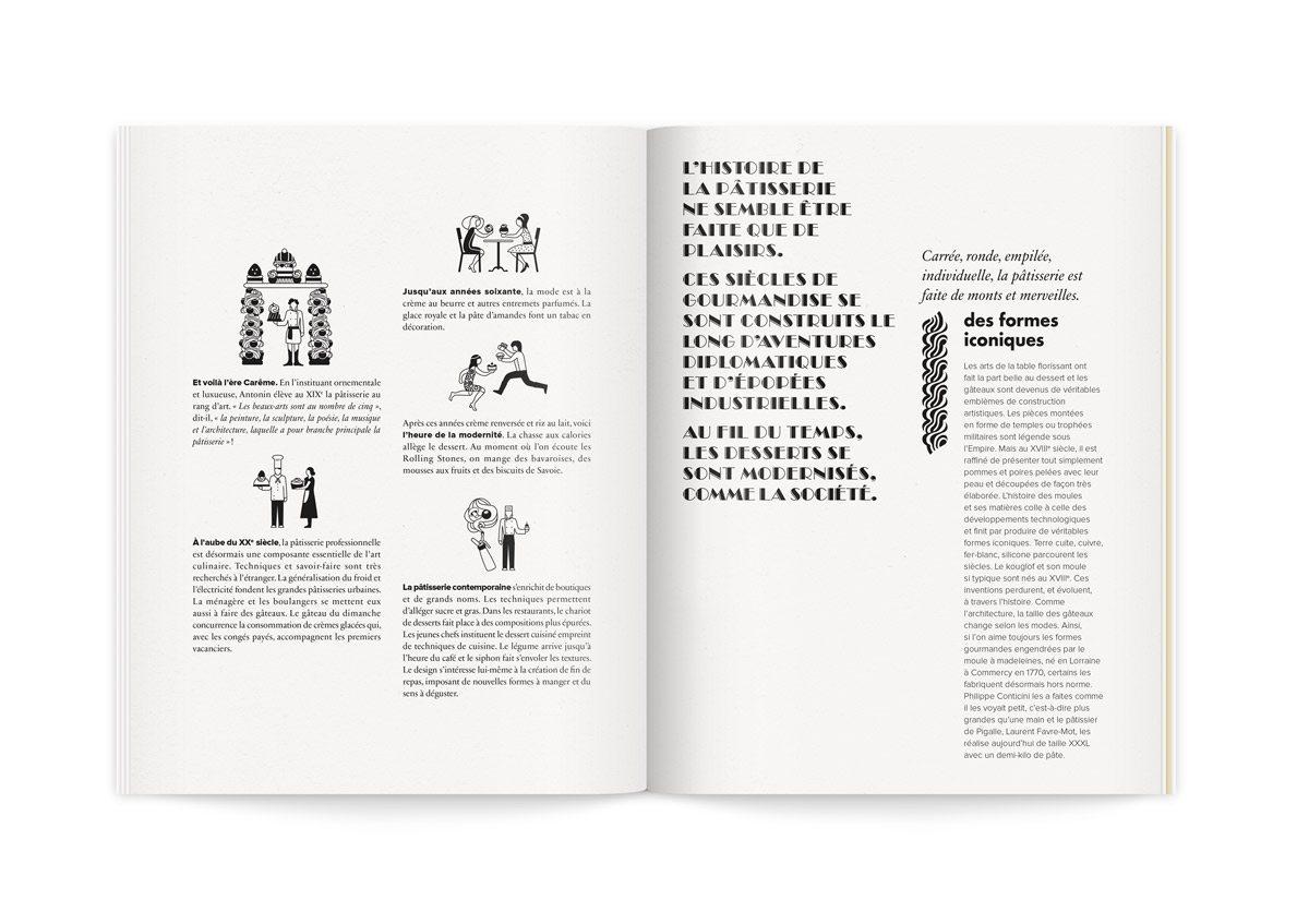 Illustrations humoristiques et fantaisistes des desserts à travers les âges, ère Carême, 20e siècle, années 60, époque moderne et pâtisserie contemporaine