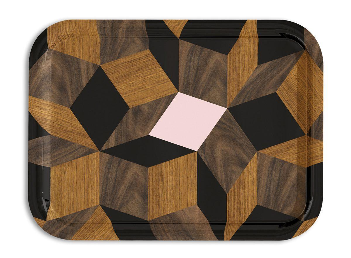 plateaux Penrose springwood, modèles Service, design Ich&Kar édition Bazartherapy
