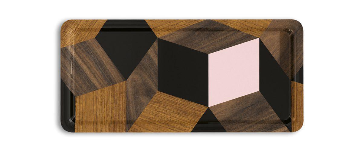 plateaux Penrose springwood, modèles tea time, design Ich&Kar édition Bazartherapy