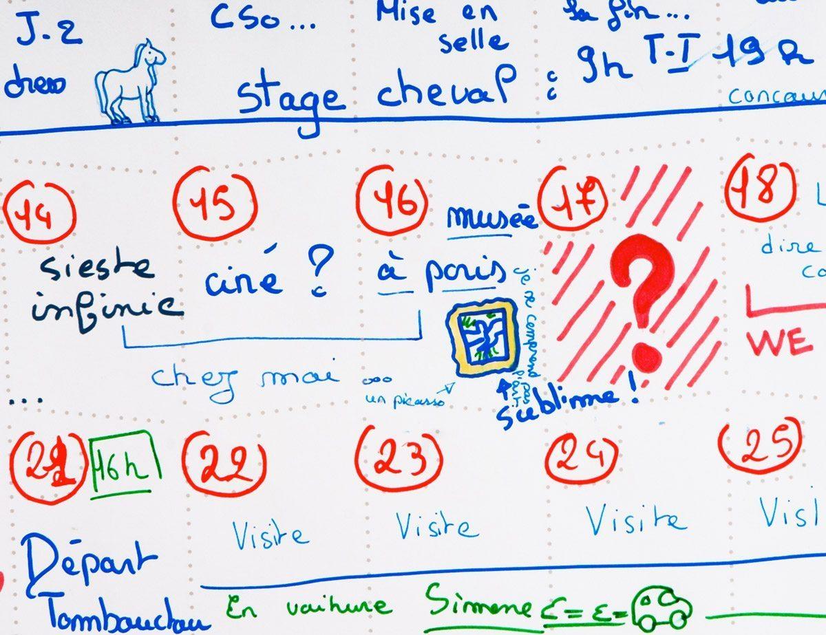 Wall Memo Calendar, calendrier perpétuel à remplir par toute la famille, édition Moulin Flèche
