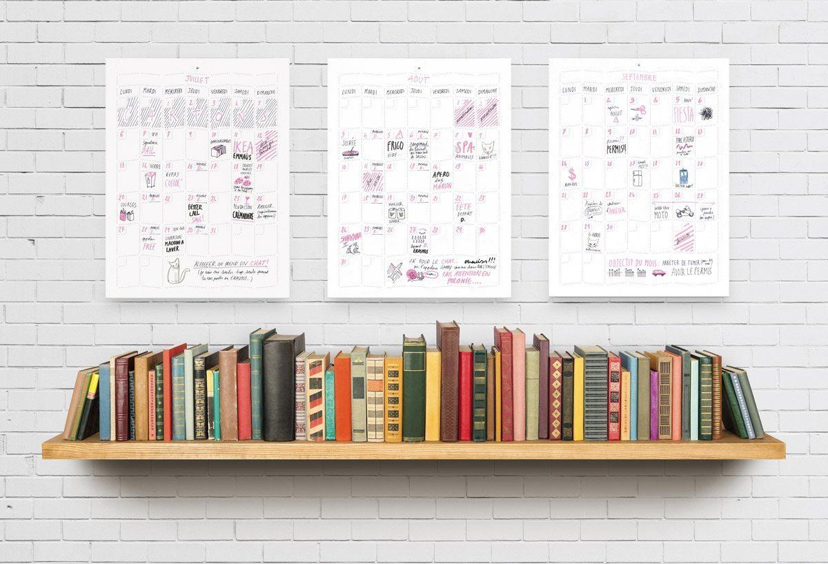 Wall Memo Calendar, calendrier intemporel à remplir et à accrocher au mur, édition Moulin Flèche