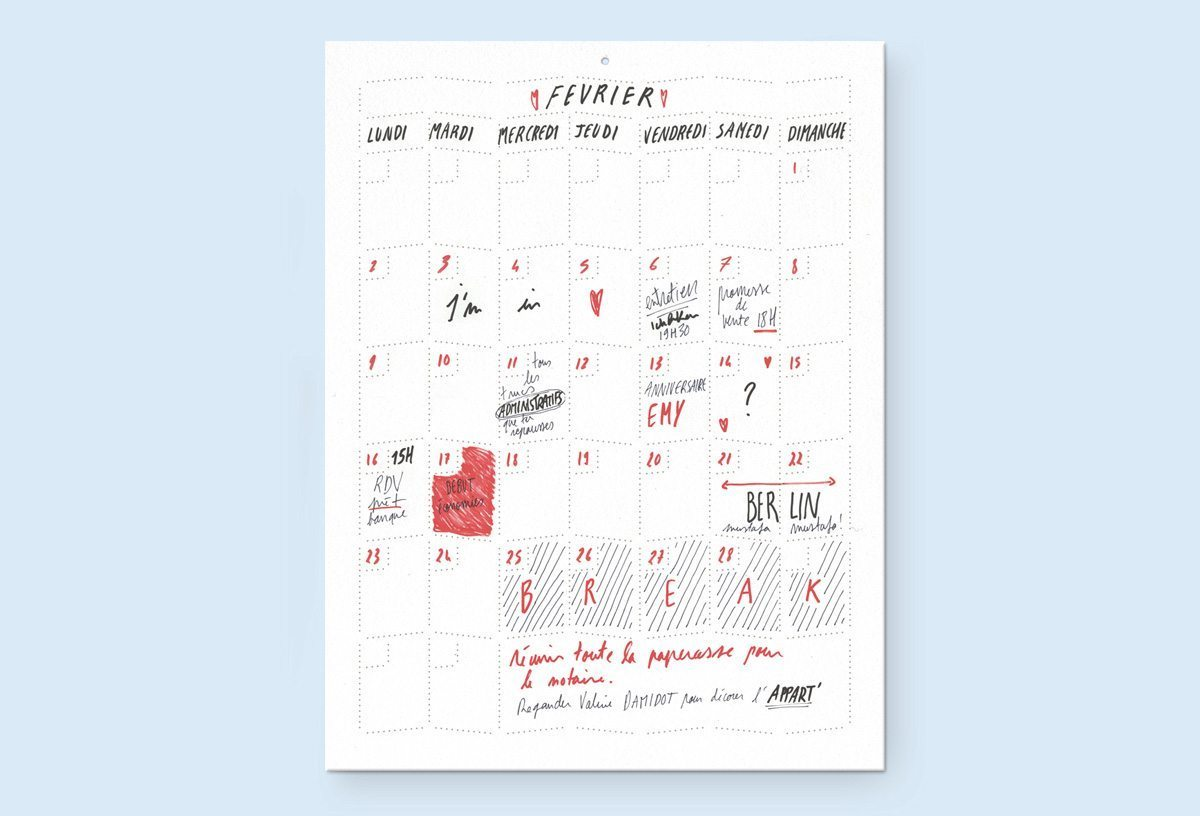 Wall Memo Calendar, calendrier pour noter les rendez vous, les vacances… édition Moulin Flèche