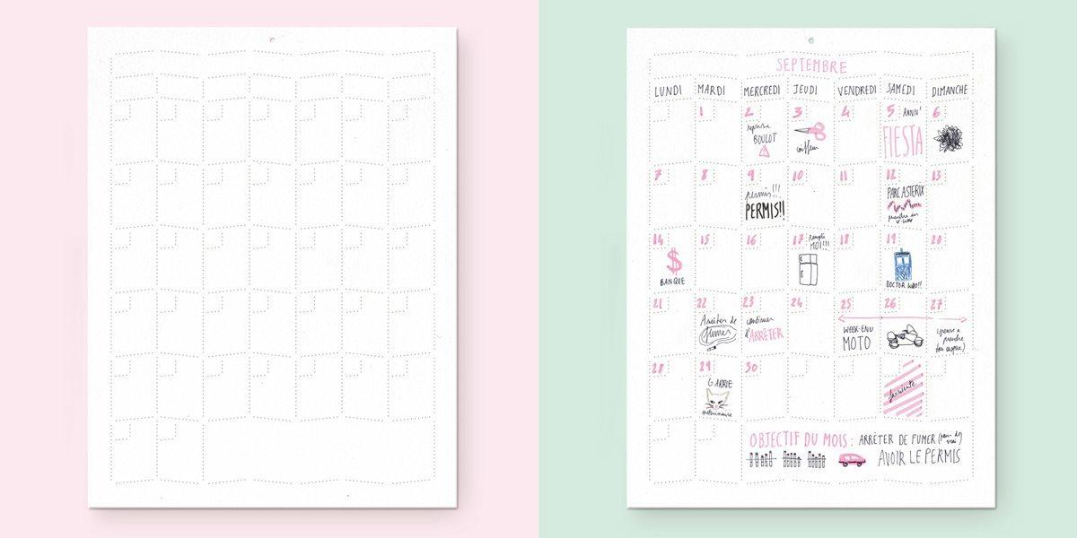 Wall Memo Calendar, calendrier pour noter et dessiner toute l'année, édition Moulin Flèche