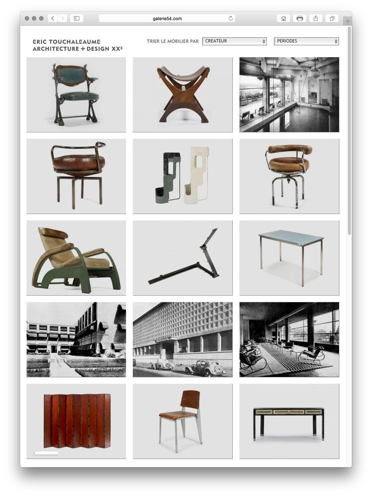 site galerie 54 grille d'accueil de la rubrique design et sculpture