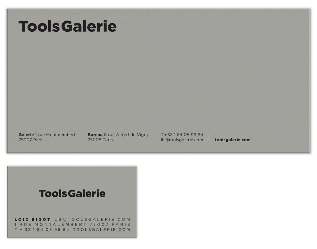 la carte de correspondance et la carte de visite de la ToolsGalerie sur papier gris et encre relief, design IchetKar