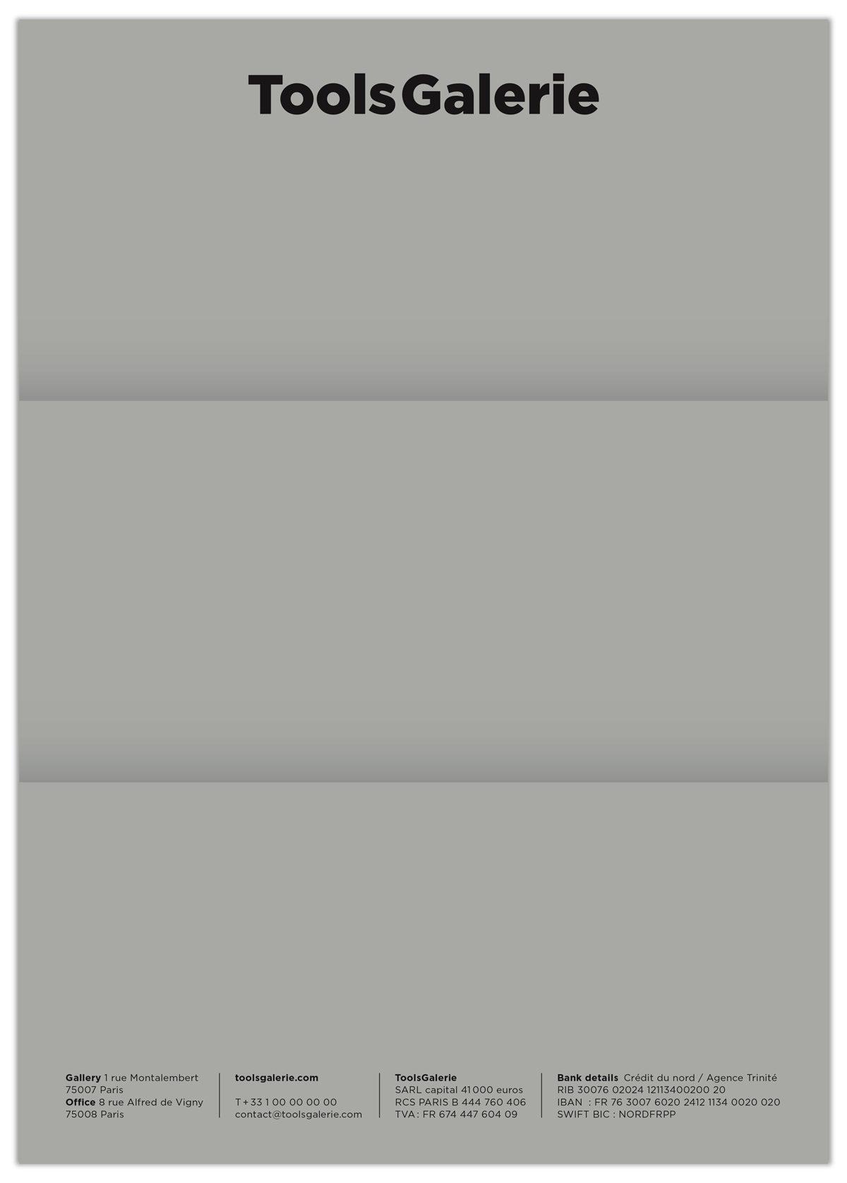 Impression dégradé effet pliage pour le papier à lettre de la ToolsGalerie, design IchetKar