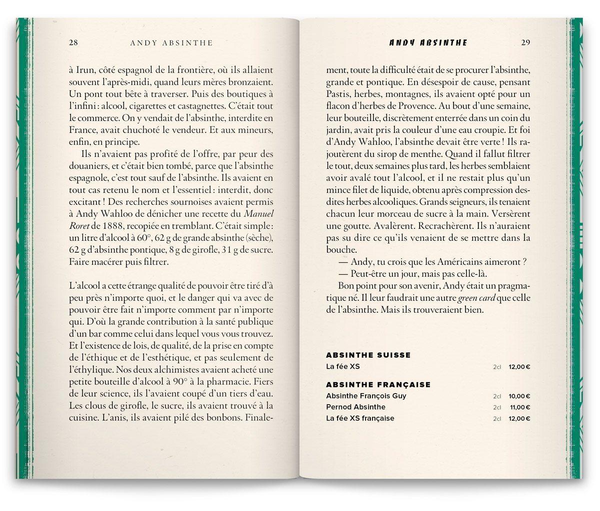 """L'histoire """"Andy Absinthe"""" de la nouvelle carte du bar Andy Wahloo, rue des graviers, Paris 3e, design Ich&Kar"""