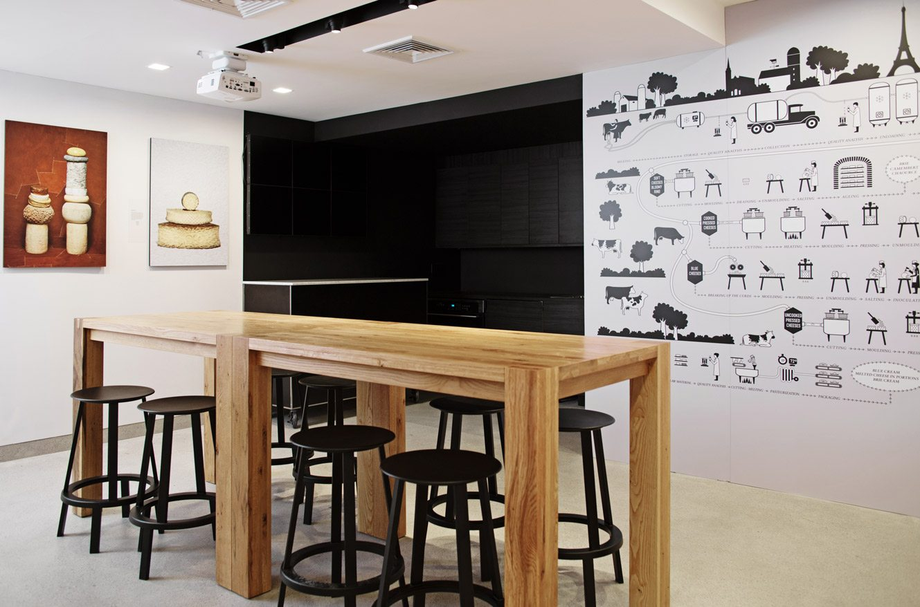 French Cheese Board culinary lab and kitchen with large oak table photo by Pascal Perich piece montees photo by jean jacques pallot