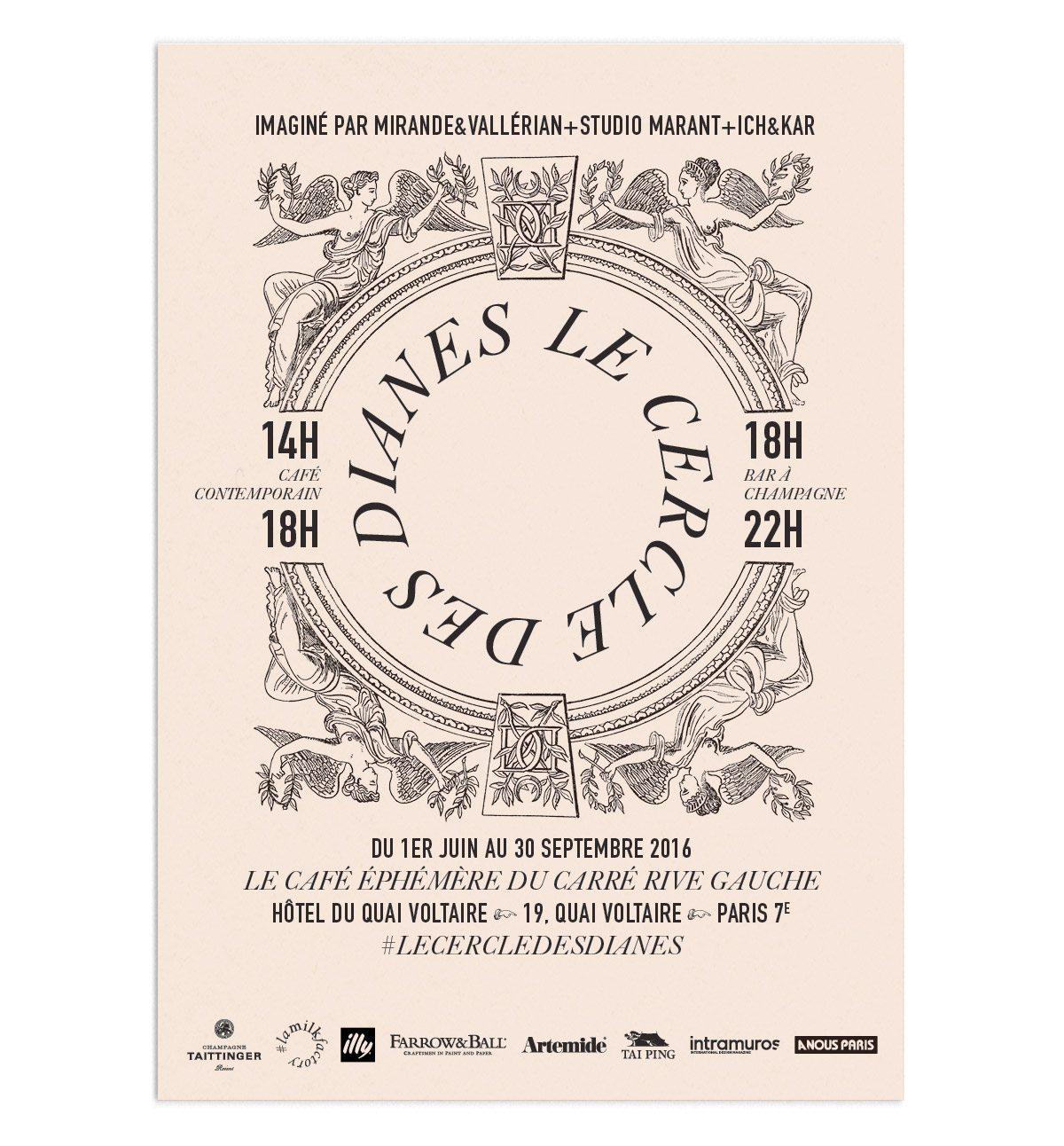 affiche du cercle des dianes café éphémère du carré rive gauche des antiquaires à paris dessiné par ichetkar