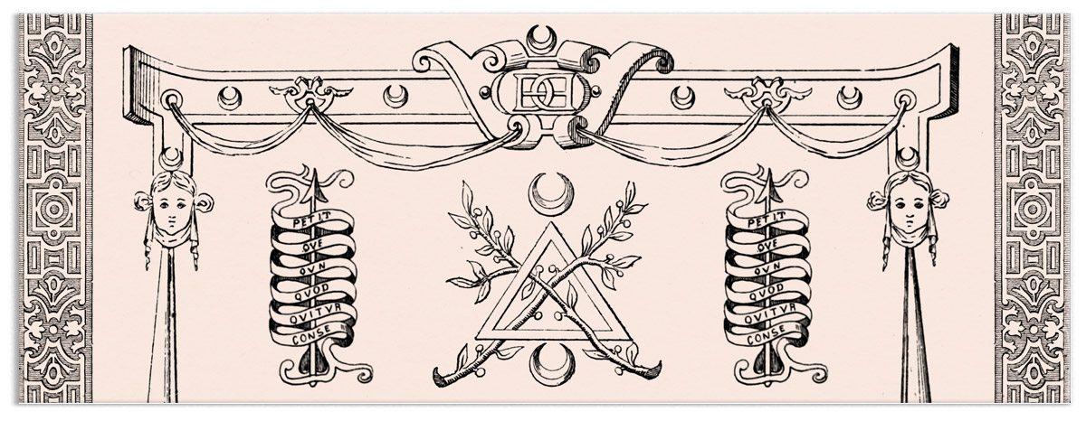 illustration avec gravures de diane chasseresse et lettrines par icherkar pour le café le cercle des dianes au carré des antiquaires