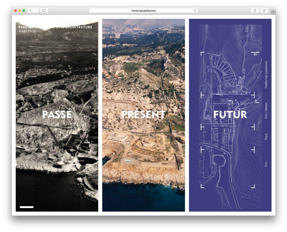La Friche de l'Escalette dans le Passé, dans le Présent et dans le Futur, design du site internet par Ich&Kar