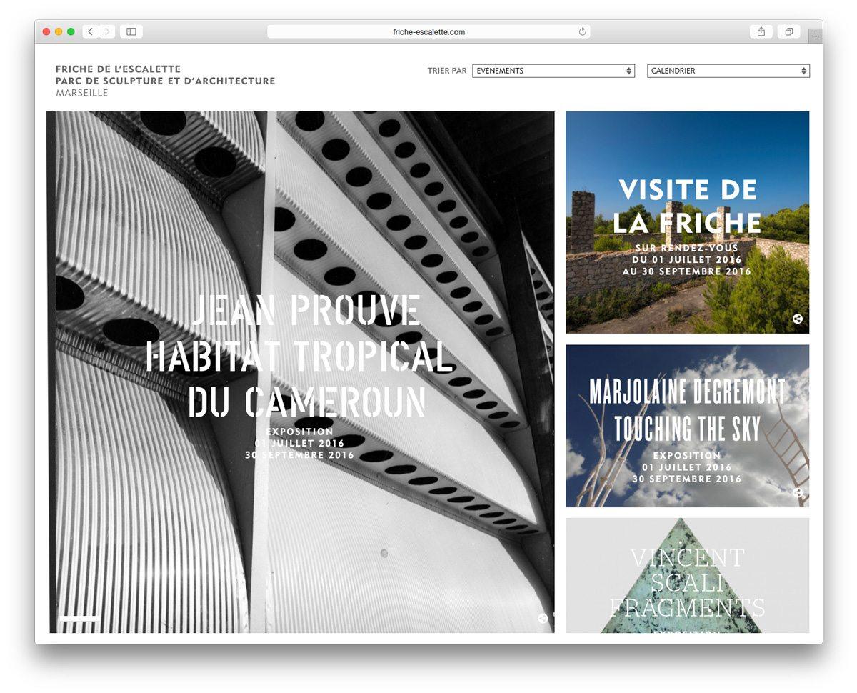 La home page du site internet de la Friche de l'Escalette, par de sculpture et d'architecture, présente le programme des expositions, webdesign et identité graphique IchetKar