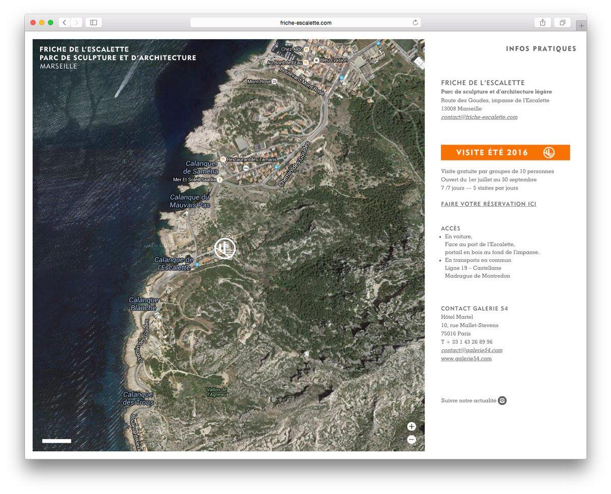 La page infos pratiques, pour les contacts, pour pouvoir se rendre à la Friche de L'Escalette et reserver la visite du lieu