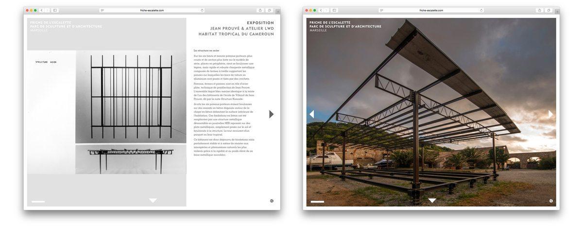 Structure en acier de l'Habitat Tropical du Cameroun de Jean Prouvé et de l'Atelier LWD, et photo de montage dans la Friche de l'Escalette à Marseille.