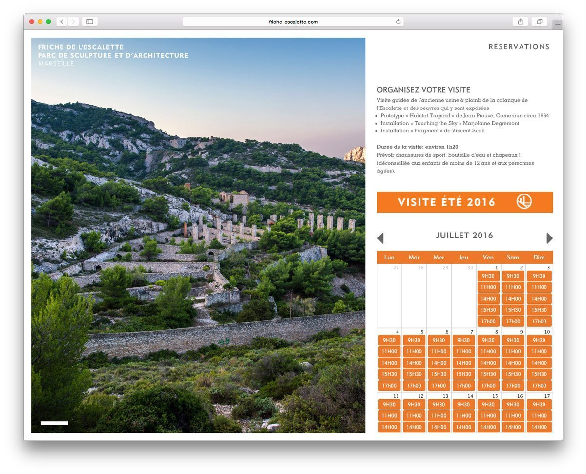 La page réservation, visite guidée de l'ancienne usine à plomb de la calanque de l'Escalette pendant l'été, webdesign Ich&Kar