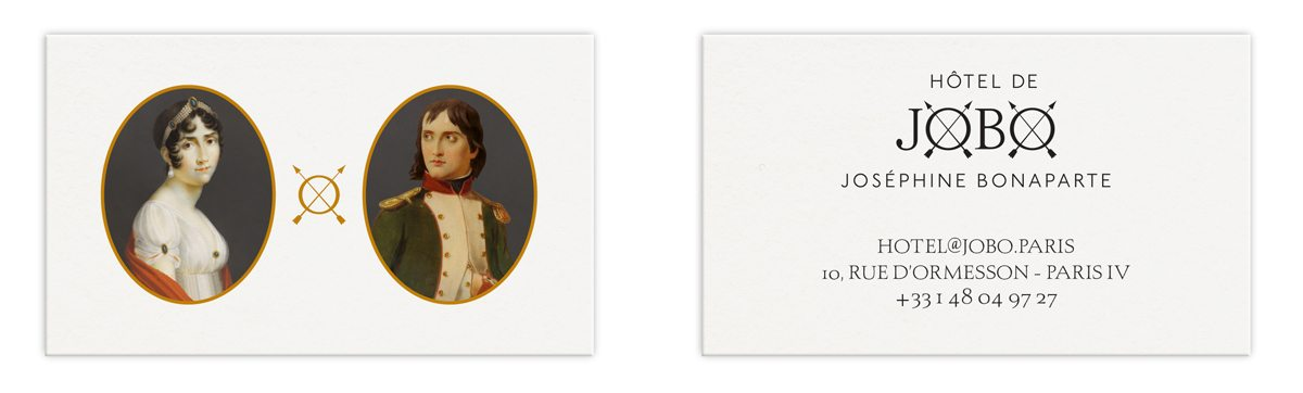 Les cartes de visites de l'Hôtel de JOBO, dans le marais à Paris, portrait de joséphine et de Napoléon, dorure à chaud, design IchetKar