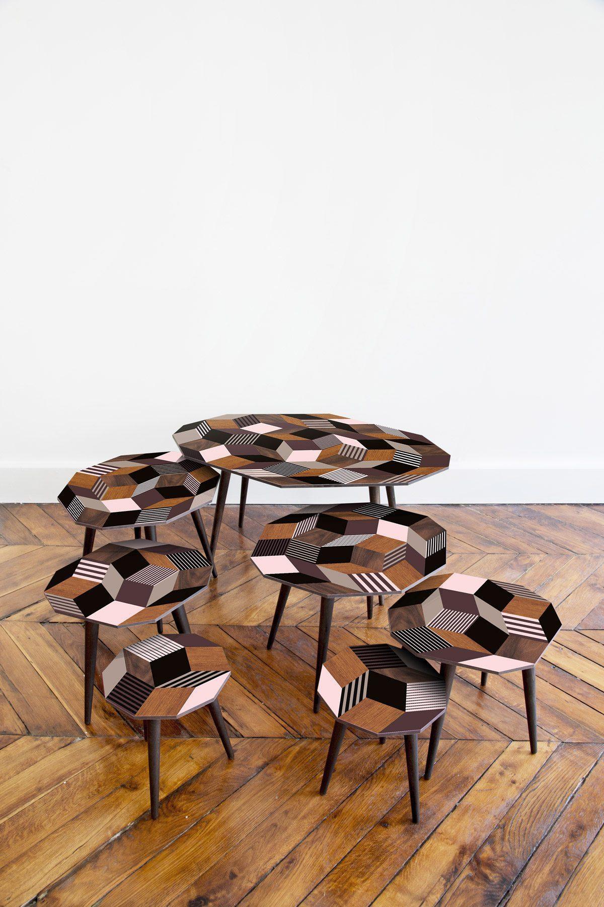 made in design plateaux des tables fancy wood par ichetkar pavage penrose marqueterie et rose photo jérémie Léon